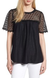 Everleigh Lace Mixed Media Top Black