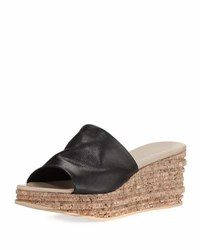 Sesto Meucci Amanda Slide Cork Wedge Sandal Black