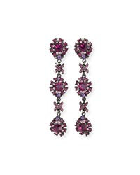 Jose And Maria Barrera Crystal Linear Clip On Earrings Amethyst