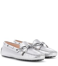 Tod's Gommino Metallic Leather Loafers Silver