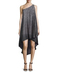 Halston One Shoulder High Low Gown Gray Grey