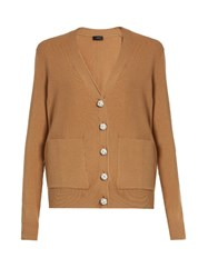 Joseph V Neck Wool Cardigan Camel
