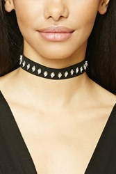 Forever 21 Diamond Shaped Pendant Choker Black Clear