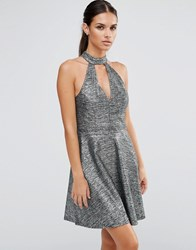 Lipsy Metallic Skater Dress With Keyhole Neck Silver