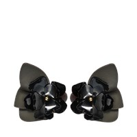 Marni Flower Earrings In Leather And Crystals