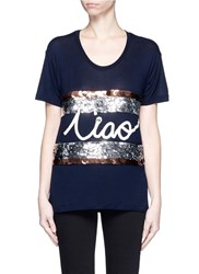 Lanvin 'Ciao' Slogan Sequin Stripe T Shirt Blue Multi Colour