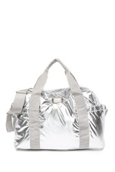 Madden Girl Parachute Nylon Weekend Bag Silver