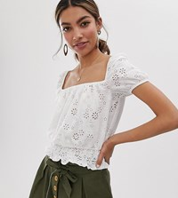 Miss Selfridge Broderie Square Neck Top In White