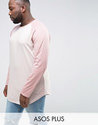 Asos Plus Super Longline Long Sleeve T Shirt With Contrast Raglan And Curved Hem In Pink Belle Chalk Rose