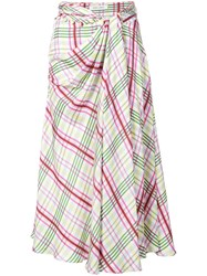 Prabal Gurung Plaid Tie Front Skirt Pink And Purple