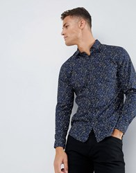 Selected Homme Smart Shirt In Slim Fit All Over Print Estate Blue Navy
