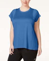 Calvin Klein Performance Plus Size Pleated Back Heathered Top Fusion Blue