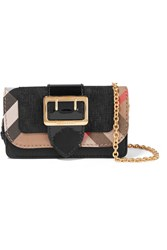 Burberry Canvas Trimmed Patent And Textured Leather Shoulder Bag Black
