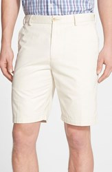 Men's Big And Tall Peter Millar 'Winston' Washed Twill Flat Front Shorts Stone Grey