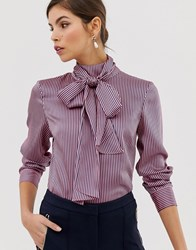 Ted Baker Leynta Pussybow Striped Blouse Pink