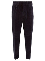 The Gigi Tapered Cotton Blend Corduroy Trousers Navy
