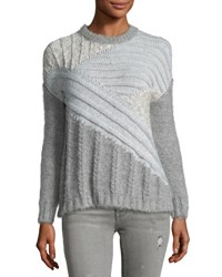 Current Elliott The Mixed Cable Sweater Gray Gray Pattern