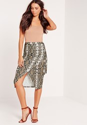 Missguided Snake Print Side Tie Wrap Midi Skirt Brown Brown
