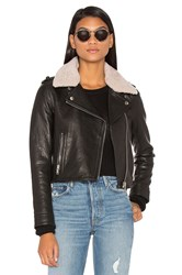 Doma Detachable Lamb Shearling Fur Collar Aviator Moto Jacket Black