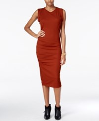 Bar Iii Ruched Midi Dress Only At Macy's Smoky Paprika