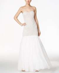 Adrianna Papell Beaded Strapless Mermaid Gown White