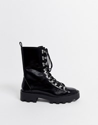 Bershka Ski Hook Cleated Sole Boots In Black