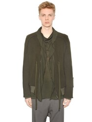 Damir Doma Wool Cloth Bomber Jacket W Draped Trim