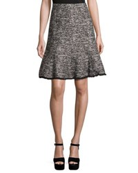 Karl Lagerfeld Frayed Hem Tweed Skirt Black White