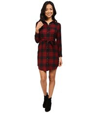 Pendleton Petite Cecily Shirtdress Black Red Rock Menzies Worsted Tartan Women's Dress