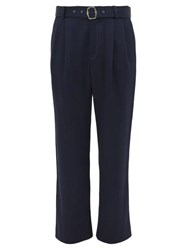 Sies Marjan Andy Belted High Rise Twill Trousers Navy