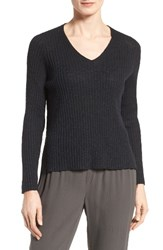 Eileen Fisher Women's Organic Linen And Cotton V Neck Sweater