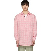 J.W.Anderson Jw Anderson Pink Linen Grid Tunic Shirt