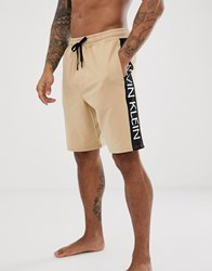 Calvin Klein Statement 1981 Bold Logo Shorts In Sand Beige