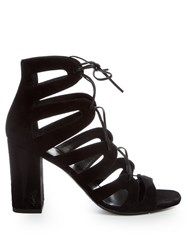 Saint Laurent Babies Lace Up Suede Sandals Black