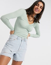 Stradivarius Gathered Front Top In Mint Green
