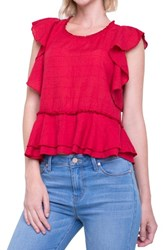 Liverpool Jeans Company Ruffle Cotton Blend Top Ribbon Red
