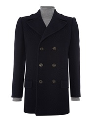 Chester Barrie Button Pea Coat Navy