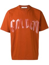 Golden Goose Deluxe Brand 'Golden' Print T Shirt Yellow Orange