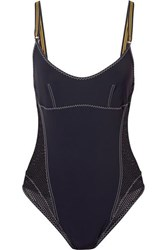 Stella Mccartney Mesh Paneled Swimsuit Midnight Blue