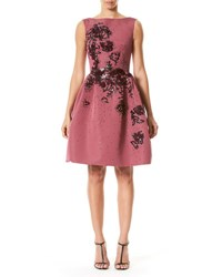Carolina Herrera Sleeveless Floral Embellished Party Dress Wine