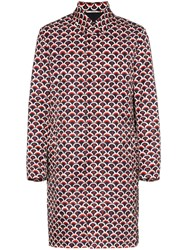 Valentino Single Breasted Scale Print Cotton Trench Coat Red