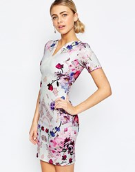 Hope And Ivy Pencil Dress In Mirrored Placement Floral Print Multi