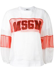 Msgm Sheer Panel Logo T Shirt White