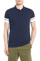 Men's French Connection Stripe Sleeve Polo