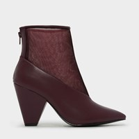 Charles And Keith Pointed Calf Boot Heels Burgun