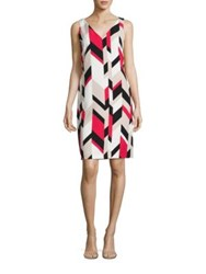 Boss Dephani Herringbone Sheath Dress Ruby Red Fantasy