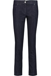 Fendi Embroidered Low Rise Straight Leg Jeans Blue