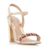 Head Over Heels Madia Floral Embellished Two Part Sandals Beige