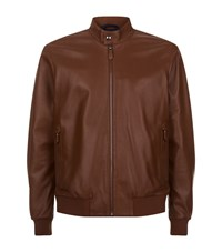 Z Zegna High Collar Leather Bomber Jacket Male Brown