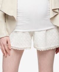 A Pea In The Pod Maternity Lace Shorts Off White